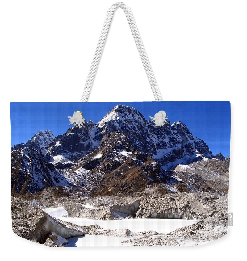 Gokyo Weekender Tote Bag featuring the photograph Glacier Chaos by Tim Hester