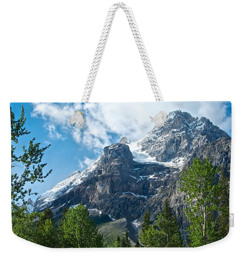 Glacier Seen From Kicking Horse Campground In Yoho Np Weekender Tote Bag featuring the photograph Glacier Seen From Kicking Horse Campground In Yoho Np-bc by Ruth Hager