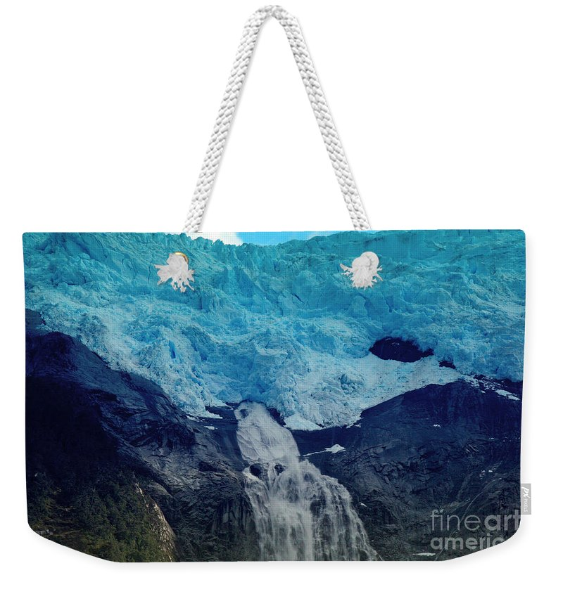 Glacier Waterfall Weekender Tote Bag featuring the photograph Glacier Waterfall by Tap On Photo