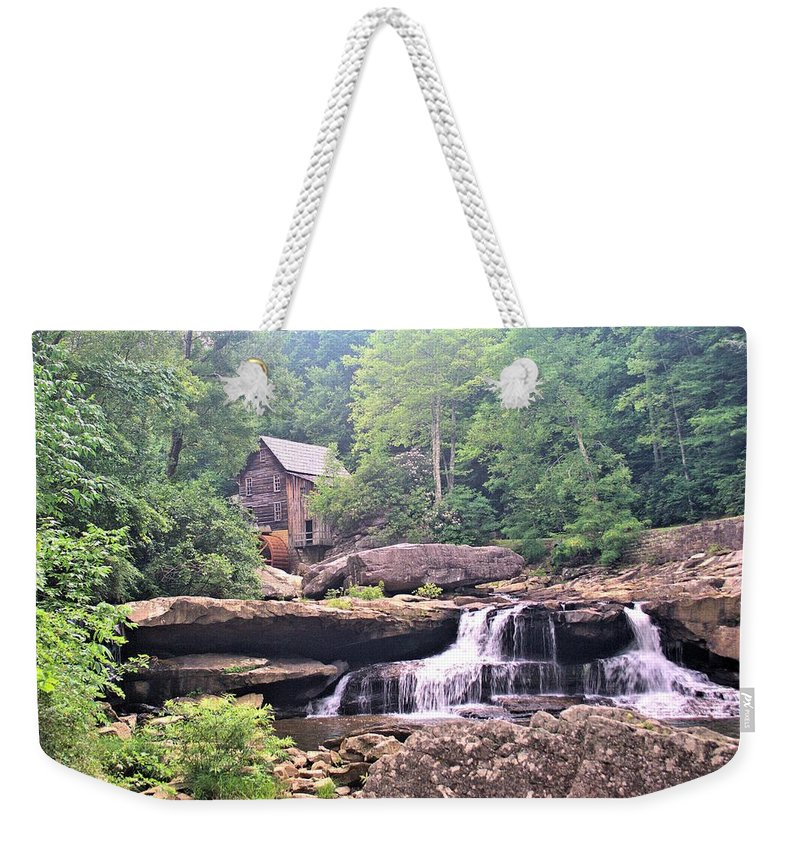 5244 Weekender Tote Bag featuring the photograph Glade Creek Grist Mill by Gordon Elwell