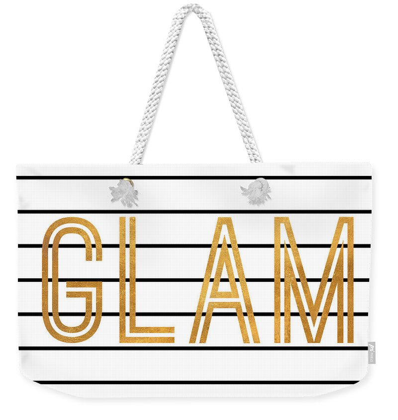 Glam Weekender Tote Bag featuring the digital art Glam Pinstripe Gold by South Social Studio