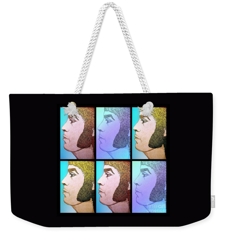 Watercolour Portrait Weekender Tote Bag featuring the mixed media Glam Rocker Collage by Joan-Violet Stretch