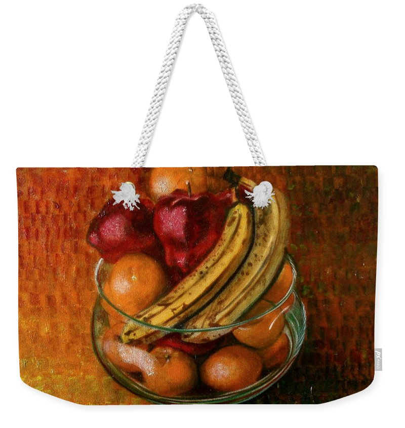 Still Life Weekender Tote Bag featuring the painting Glass Bowl Of Fruit by Sean Connolly