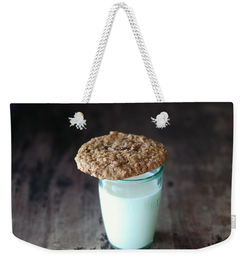 Milk Weekender Tote Bag featuring the photograph Glass Of Milk by Shawna Lemay
