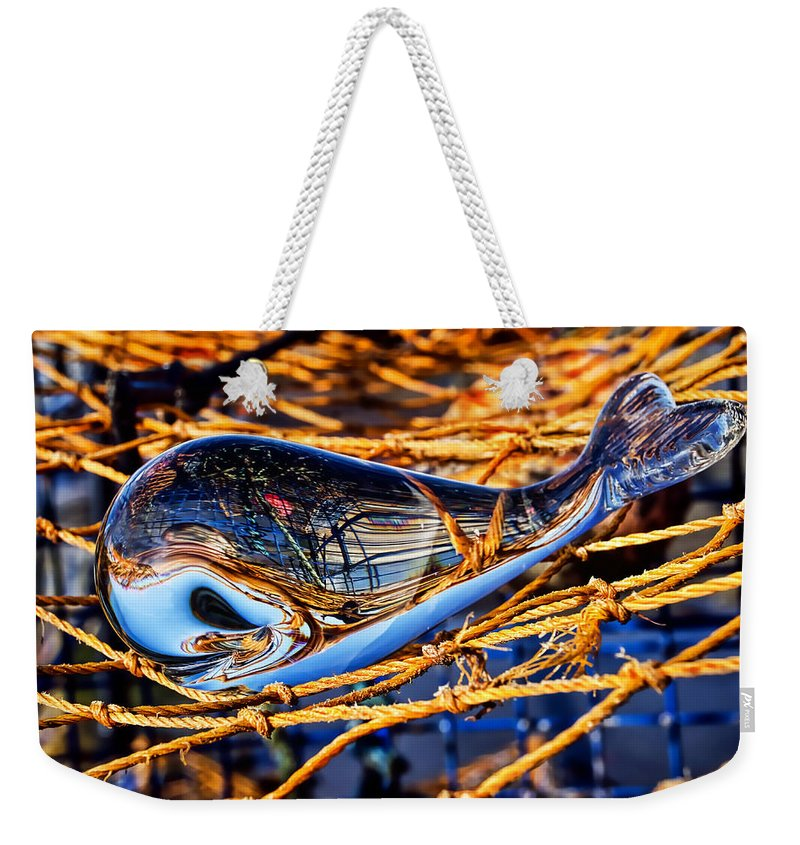 Glass Weekender Tote Bag featuring the photograph Glass Whale On Fishing Nets by Susie Peek