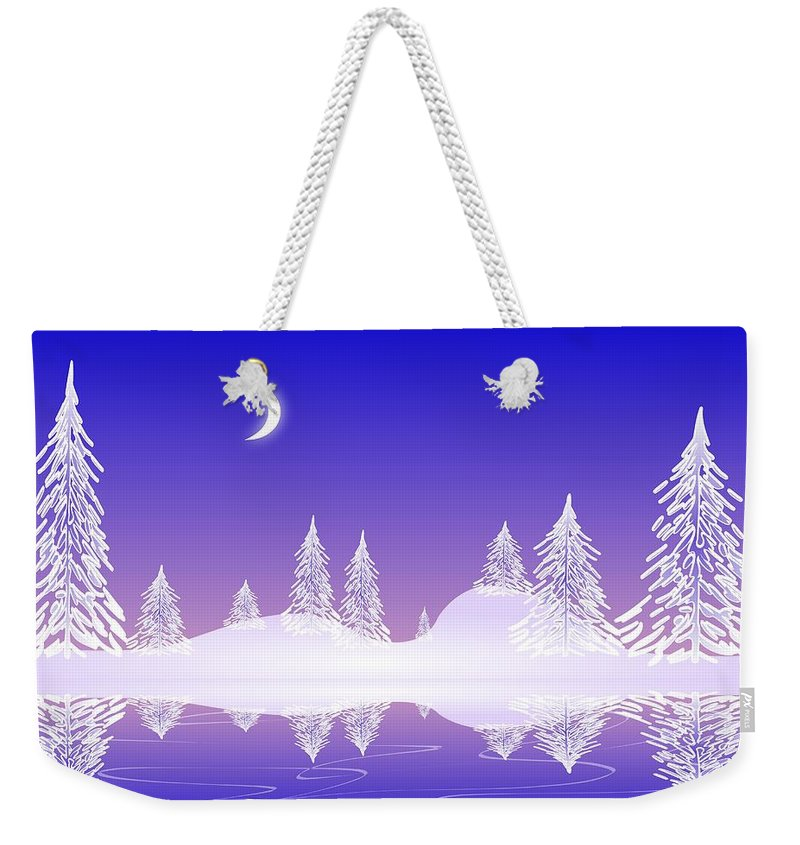 Cool Weekender Tote Bag featuring the digital art Glass Winter by Anastasiya Malakhova
