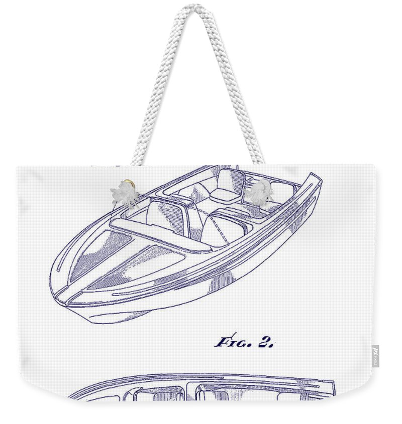 Sketch Weekender Tote Bag featuring the digital art Glasspar 1960 California Boat by Georgia Fowler