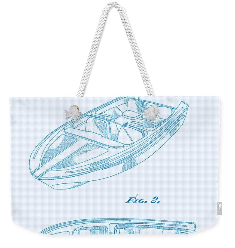 Sketch Weekender Tote Bag featuring the digital art Glasspar 1960's California Boat by Georgia Fowler