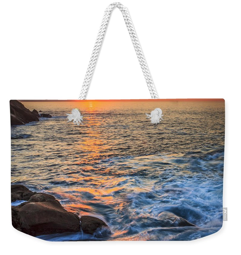 Sunset Weekender Tote Bag featuring the photograph Gleaming Fire At Coitelada Galicia Spain by Pablo Avanzini
