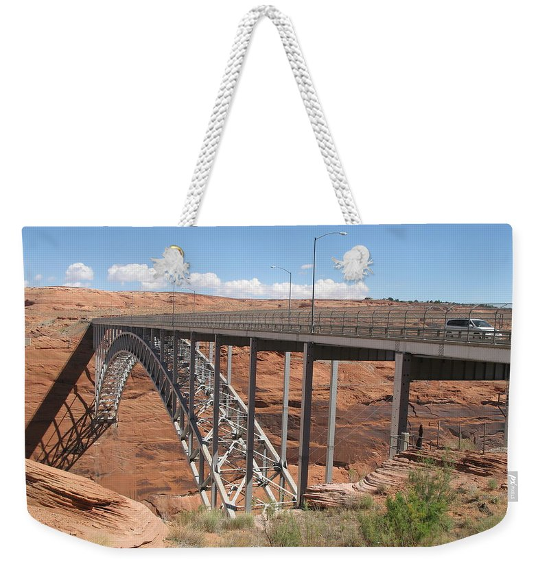 Steel Arch Bridge Weekender Tote Bag featuring the photograph Glen Canyon Bridge by Christiane Schulze Art And Photography