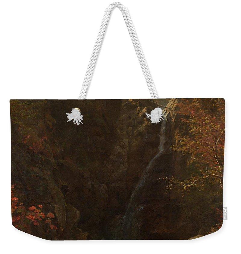 Albert Bierstadt Weekender Tote Bag featuring the painting Glen Ellis Falls by Albert Bierstadt