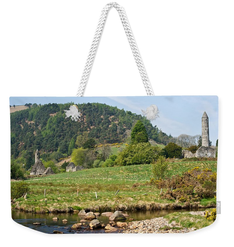 Round Weekender Tote Bag featuring the photograph Glendalaugh Tower 15 by Douglas Barnett