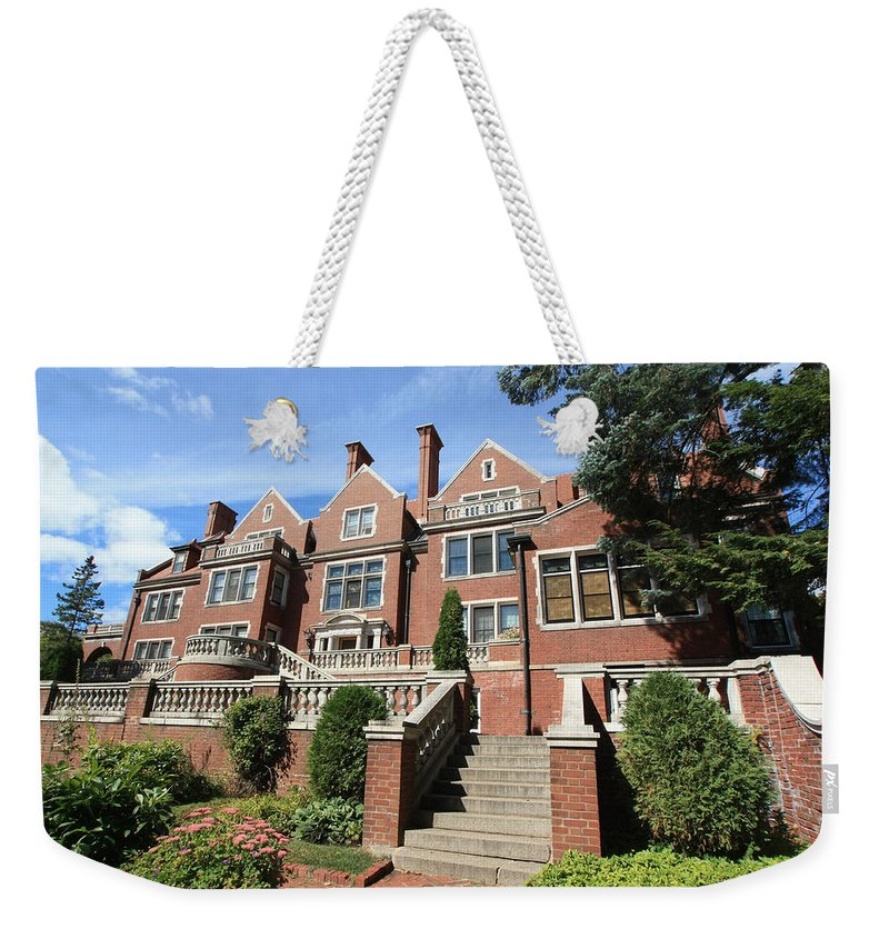 Congdon Weekender Tote Bag featuring the photograph Glensheen Mansion Exterior by Amanda Stadther