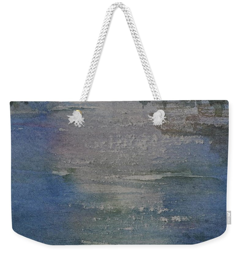 Spruce Weekender Tote Bag featuring the painting Glimmering Water by Sally Rice