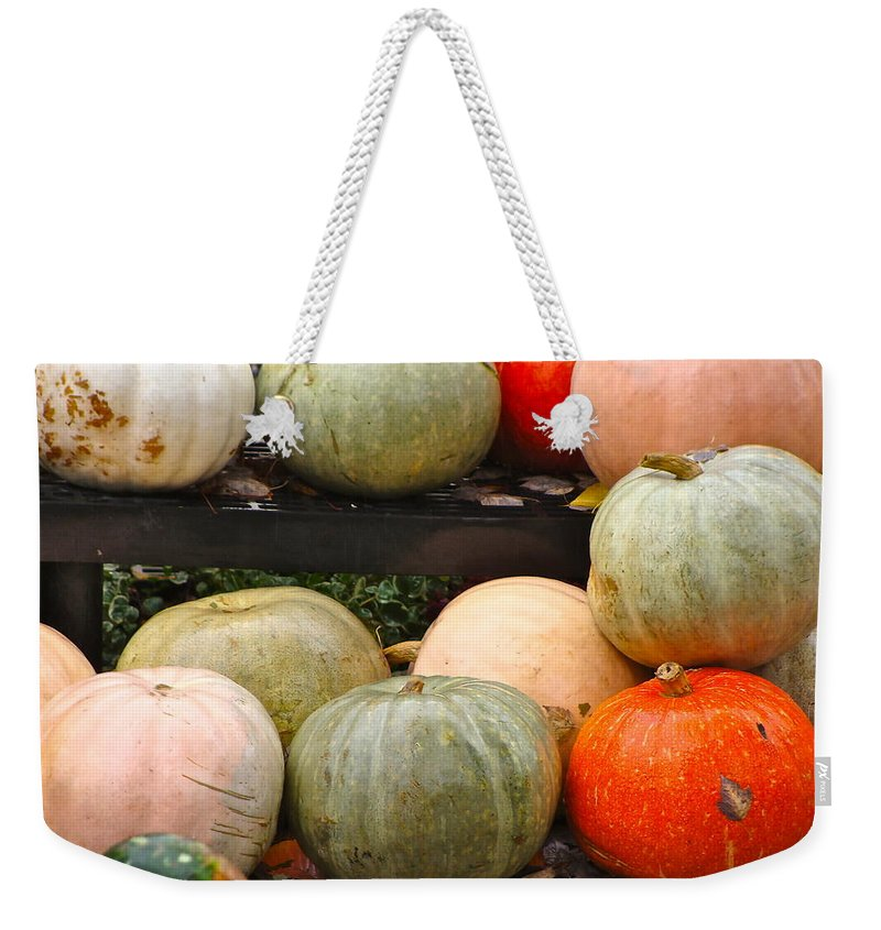 Fall Harvest Weekender Tote Bag featuring the photograph Glistening Gourds by Ira Shander