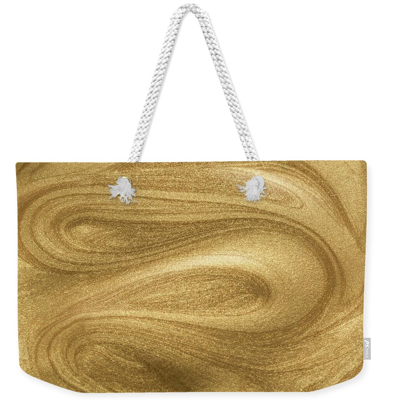 Curve Weekender Tote Bag featuring the photograph Glittering Gold Paint by Miragec