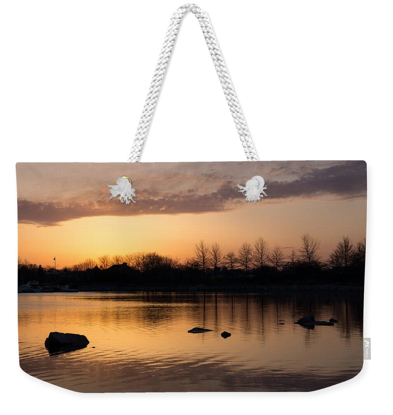 Gloaming Weekender Tote Bag featuring the photograph Gloaming - Subtle Pink Lavender And Orange At The Lake by Georgia Mizuleva