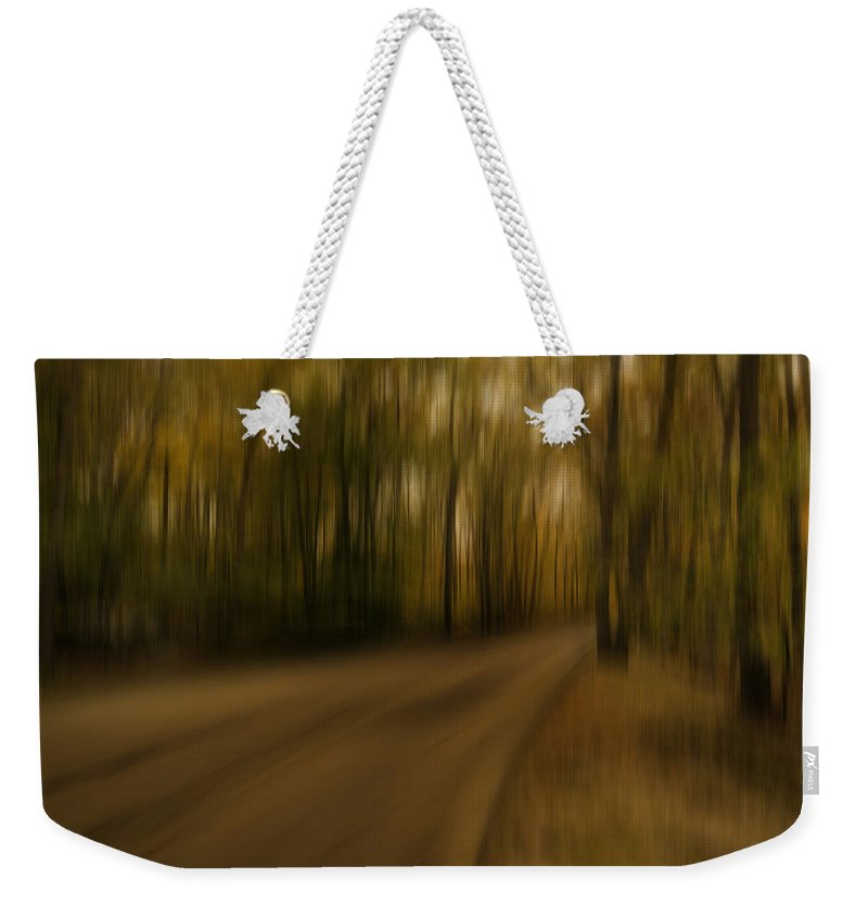 Path Abstract Weekender Tote Bag featuring the photograph Gloomy Autumn by Lourry Legarde