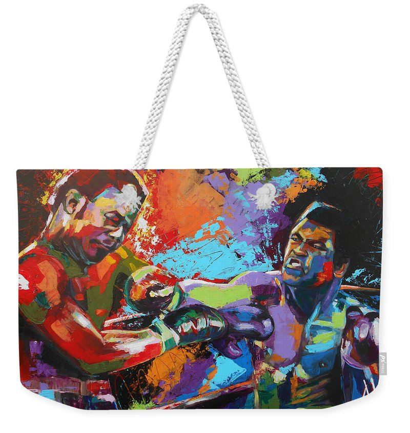 Art Weekender Tote Bag featuring the painting Glory Night by Angie Wright