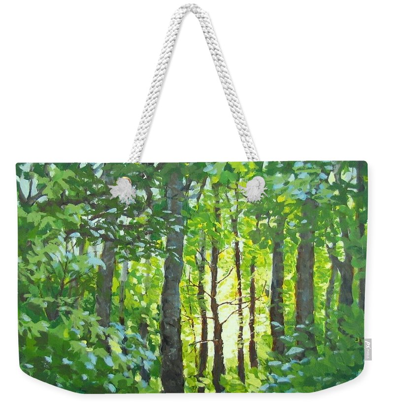 Landscape Weekender Tote Bag featuring the painting Glow by Karen Ilari
