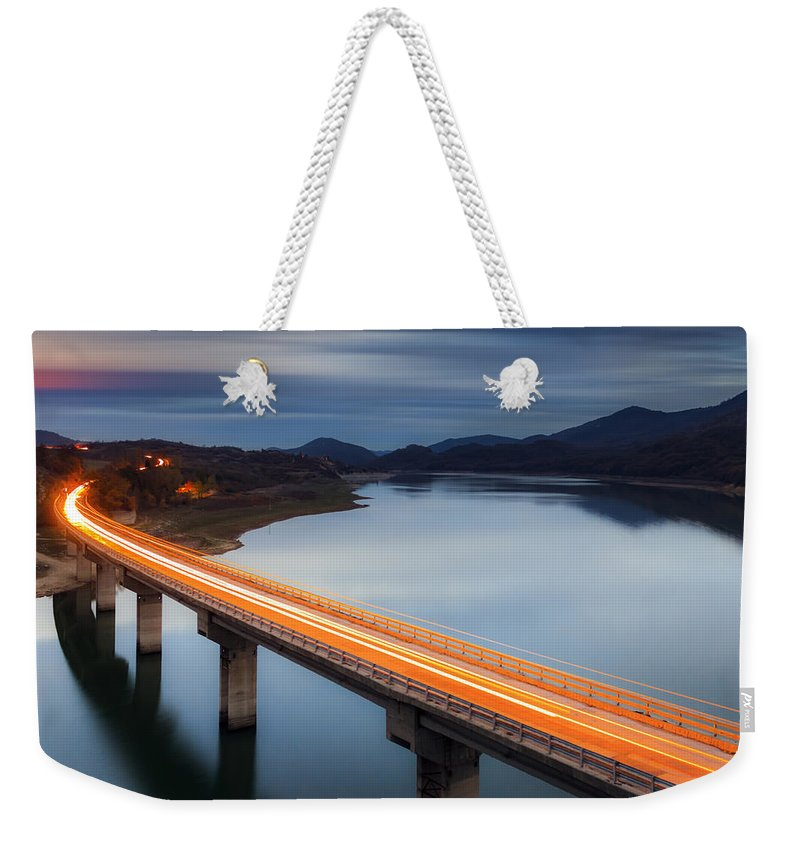 Bulgaria Weekender Tote Bag featuring the photograph Glowing Bridge by Evgeni Dinev