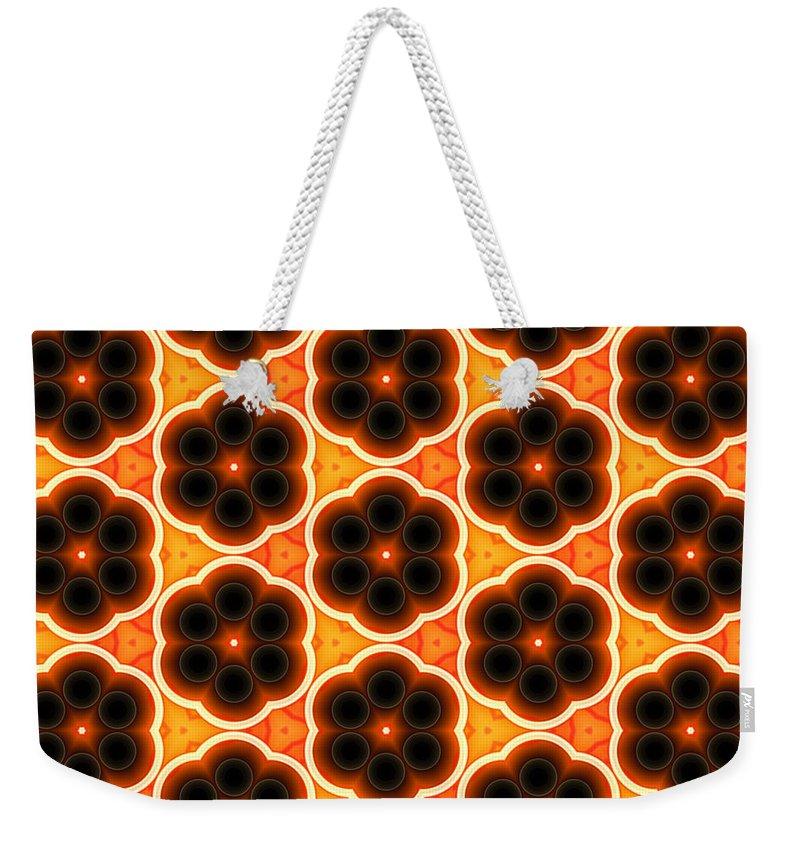 Artmatic Weekender Tote Bag featuring the digital art Glowing Floral Pattern by Hakon Soreide
