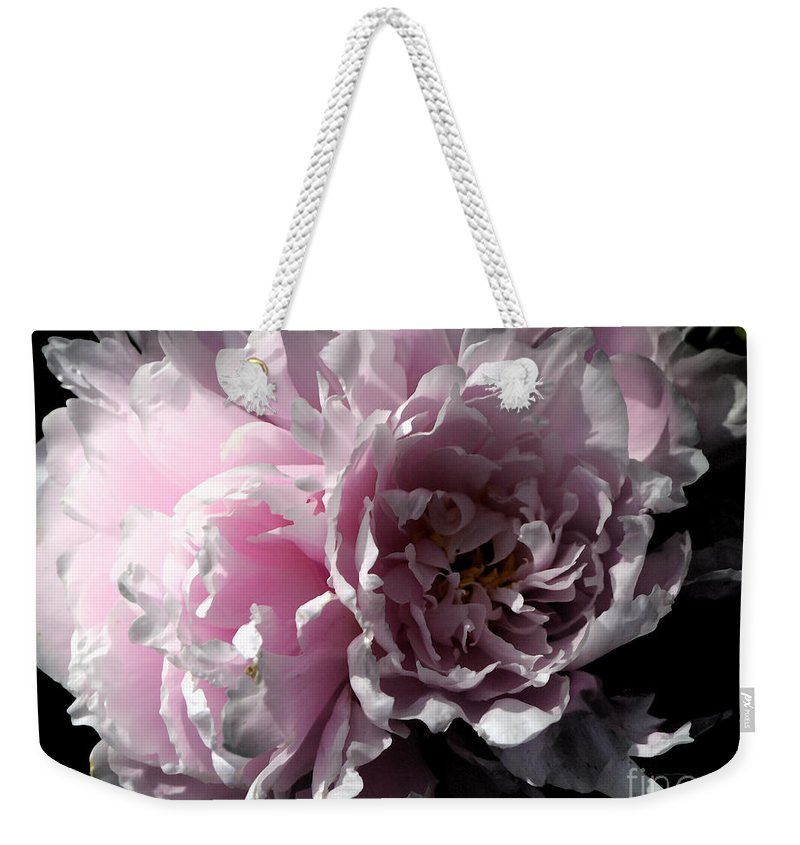Peony Weekender Tote Bag featuring the photograph Glowing Pink Peony by Christiane Schulze Art And Photography
