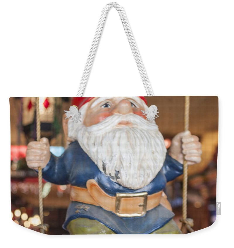 Garden Gnome Weekender Tote Bag featuring the photograph Gnome On A Swing 2 by Scott Campbell