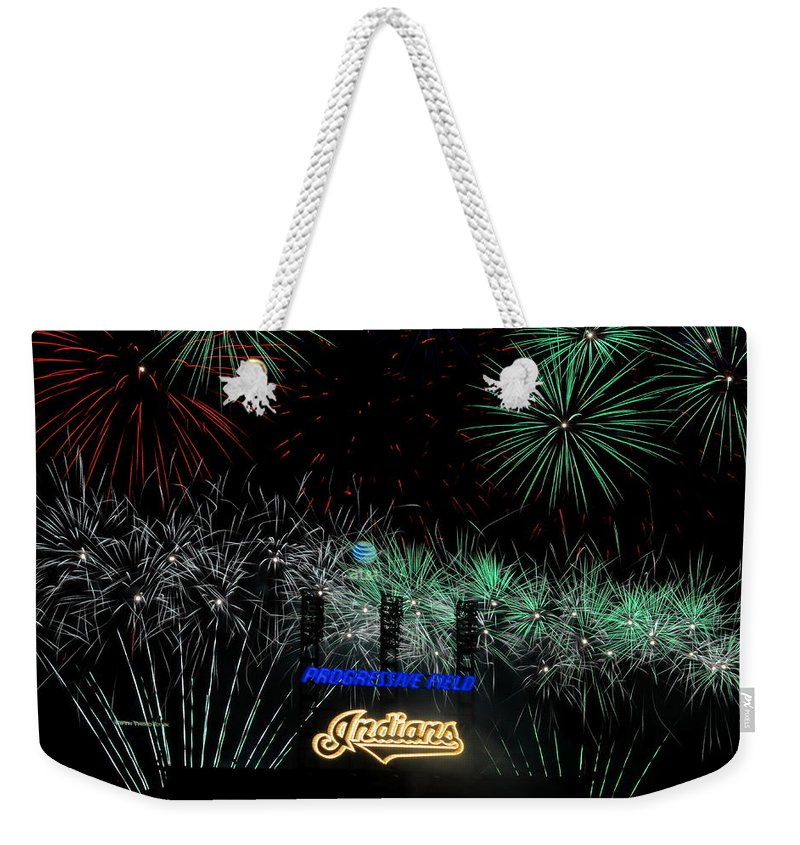Cleveland Weekender Tote Bag featuring the photograph Go Indians by Frozen in Time Fine Art Photography
