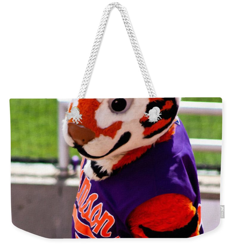 Tiger Weekender Tote Bag featuring the painting Go Tigers Fight by Lynne Jenkins