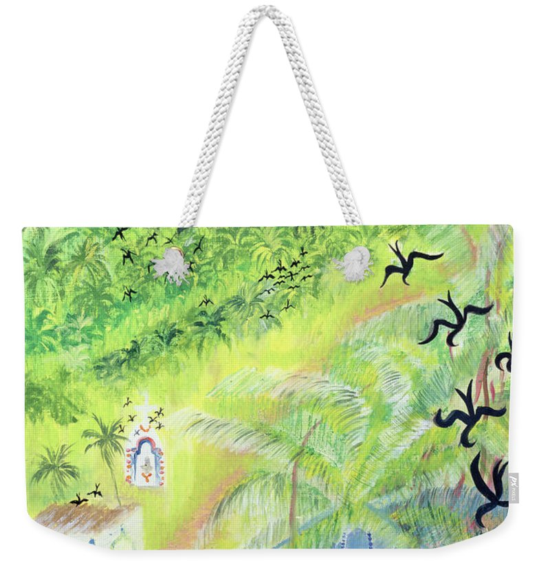 Indian Weekender Tote Bag featuring the photograph Goa, India, 1998 Oil On Paper by Sophia Elliot