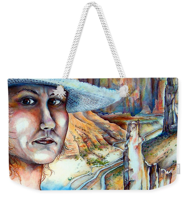 Canyon Weekender Tote Bag featuring the mixed media God by Linda Shackelford