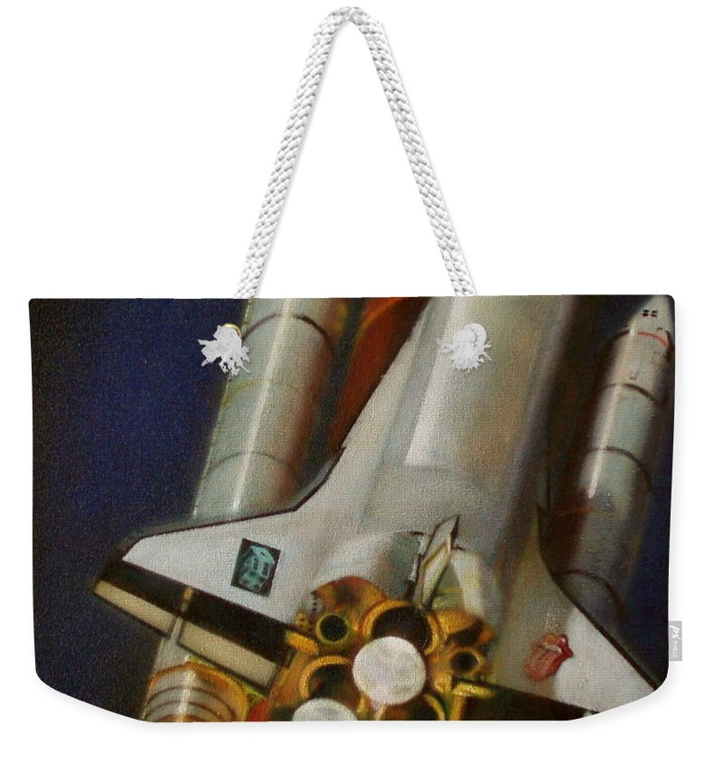 Space Shuttle;launch;liftoff;blastoff;rockets;engines;astronauts;spaceart;nasa;photorealism Weekender Tote Bag featuring the painting God Plays Dice by Sean Connolly