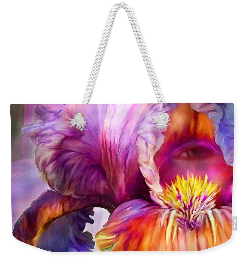 Goddess Weekender Tote Bag featuring the mixed media Goddess Of Insight by Carol Cavalaris