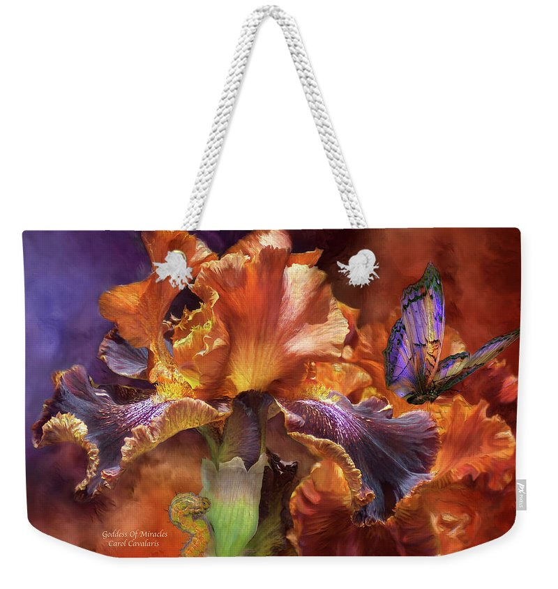 Iris Weekender Tote Bag featuring the mixed media Goddess Of Miracles by Carol Cavalaris