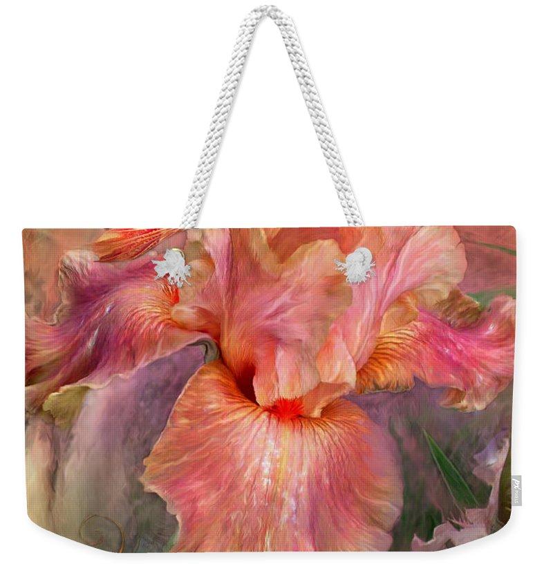 Iris Weekender Tote Bag featuring the mixed media Goddess Of Spring by Carol Cavalaris