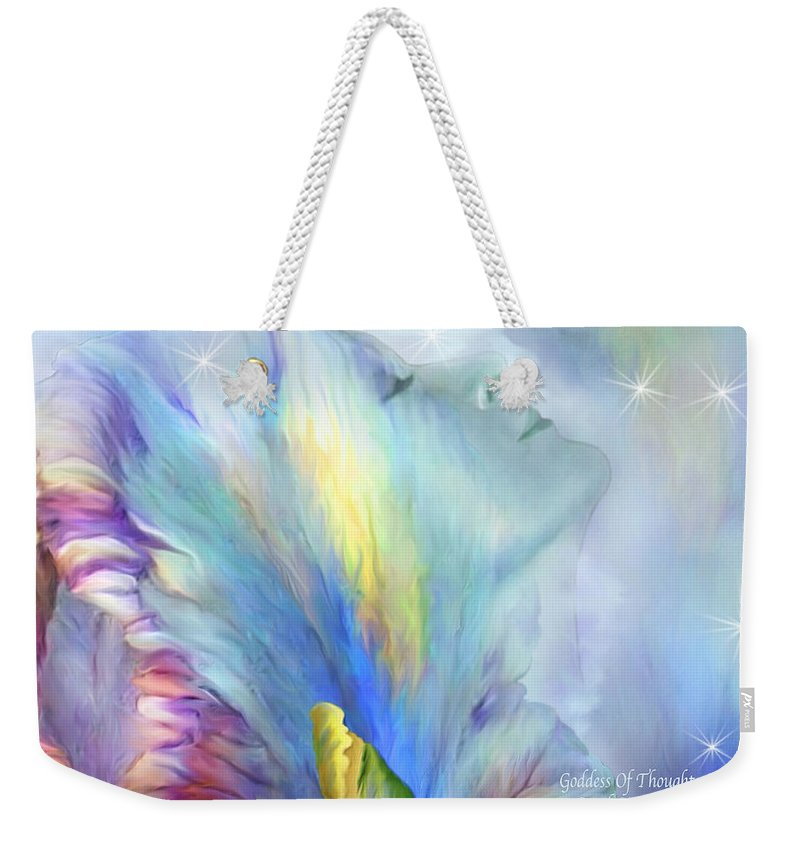 Goddess Weekender Tote Bag featuring the mixed media Goddess Of Thought by Carol Cavalaris