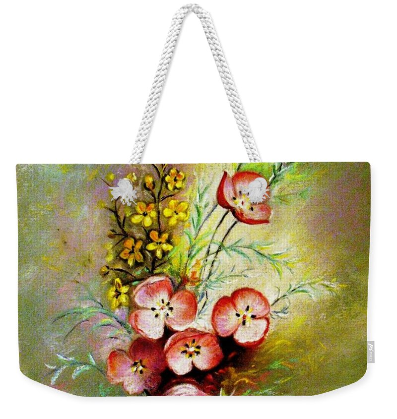 Flowers Weekender Tote Bag featuring the pastel God's Smile by Hazel Holland