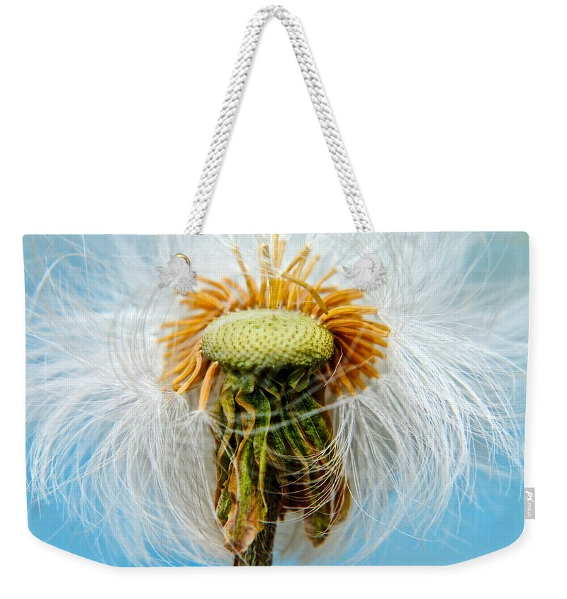 Dandelion Weekender Tote Bag featuring the photograph Going Bald by Frozen in Time Fine Art Photography