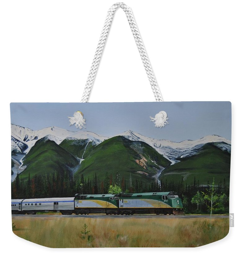 Via Rail Weekender Tote Bag featuring the painting Going Home by Glen Frear