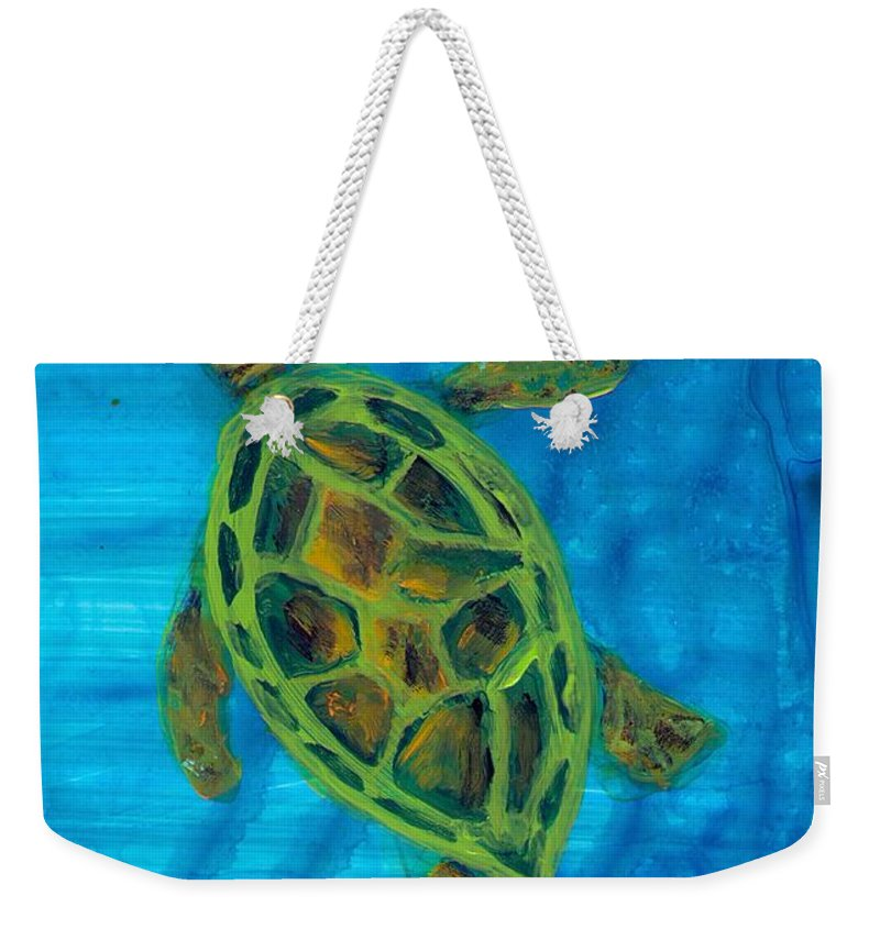 Turtle Weekender Tote Bag featuring the painting Going Up For Air by Wanda Pepin