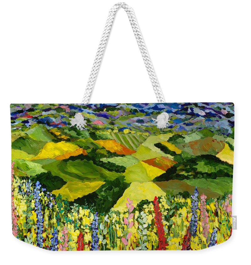 Landscape Weekender Tote Bag featuring the painting Going Wild by Allan P Friedlander