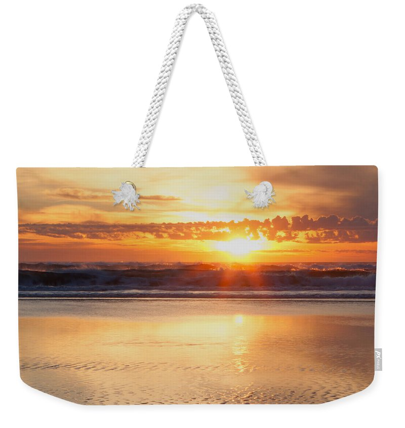 Gold Bluff Beach Weekender Tote Bag featuring the photograph Gold Bluff Sunset by Susan Rovira
