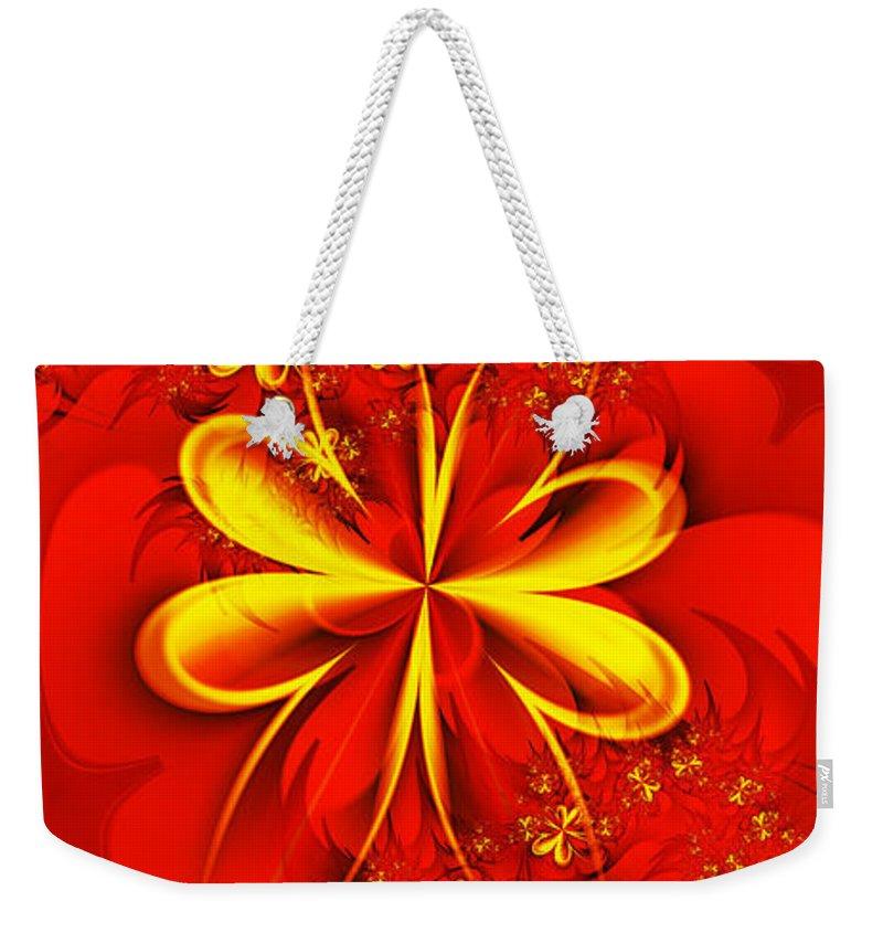 Digital Weekender Tote Bag featuring the digital art Gold Flowers by Lena Auxier