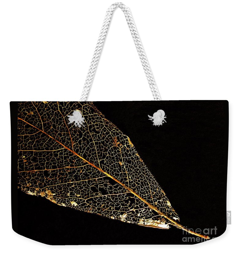 Leaf Weekender Tote Bag featuring the photograph Gold Leaf by Ann Horn