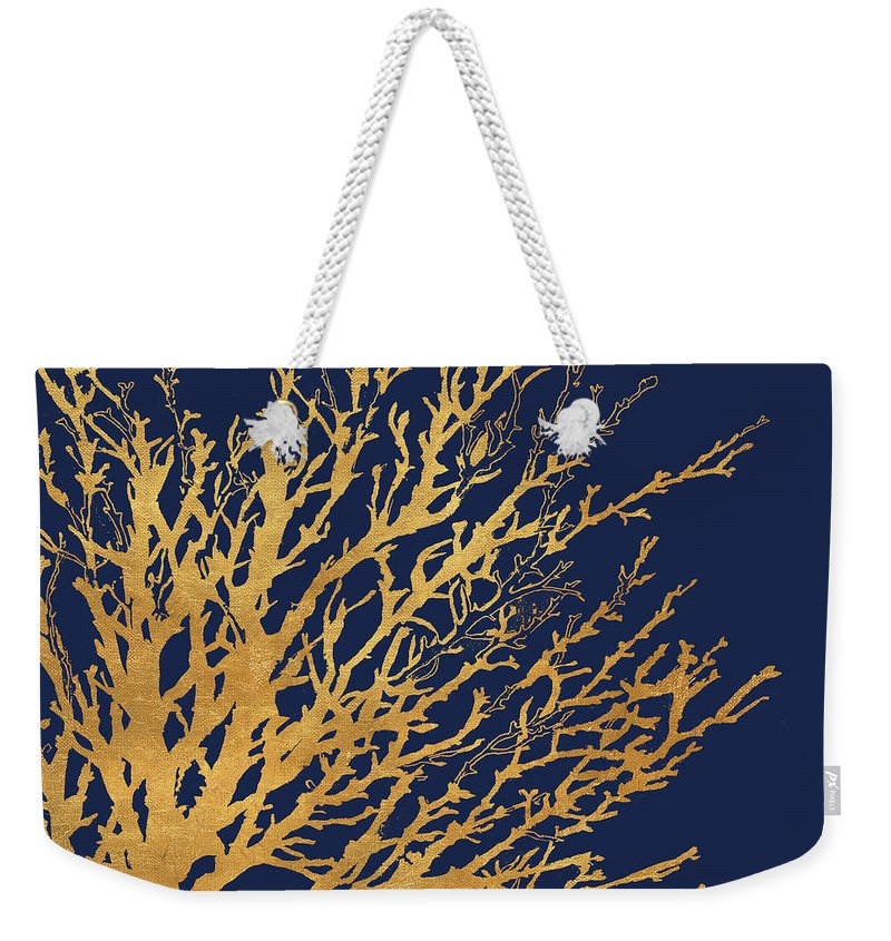 Gold Weekender Tote Bag featuring the mixed media Gold Medley On Navy by Lanie Loreth