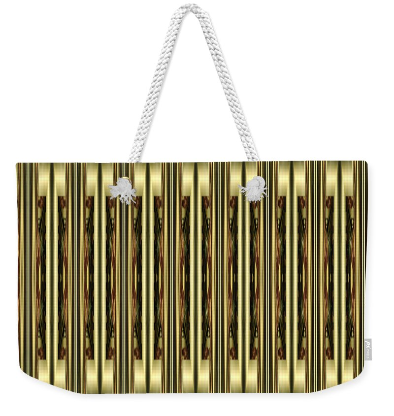 """""""gleaming Gold"""" Weekender Tote Bag featuring the digital art Gold Metallic 18 by Patricia Keith"""