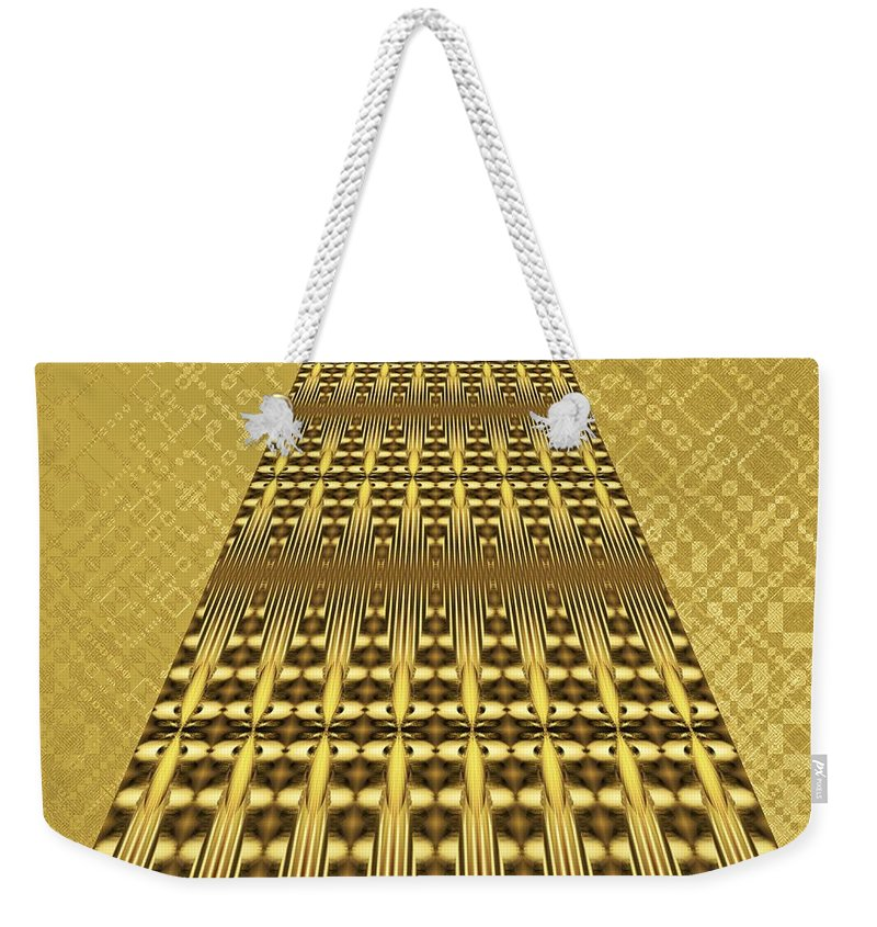Gleaming Gold Weekender Tote Bag featuring the digital art Gold Metallic 9 by Patricia Keith