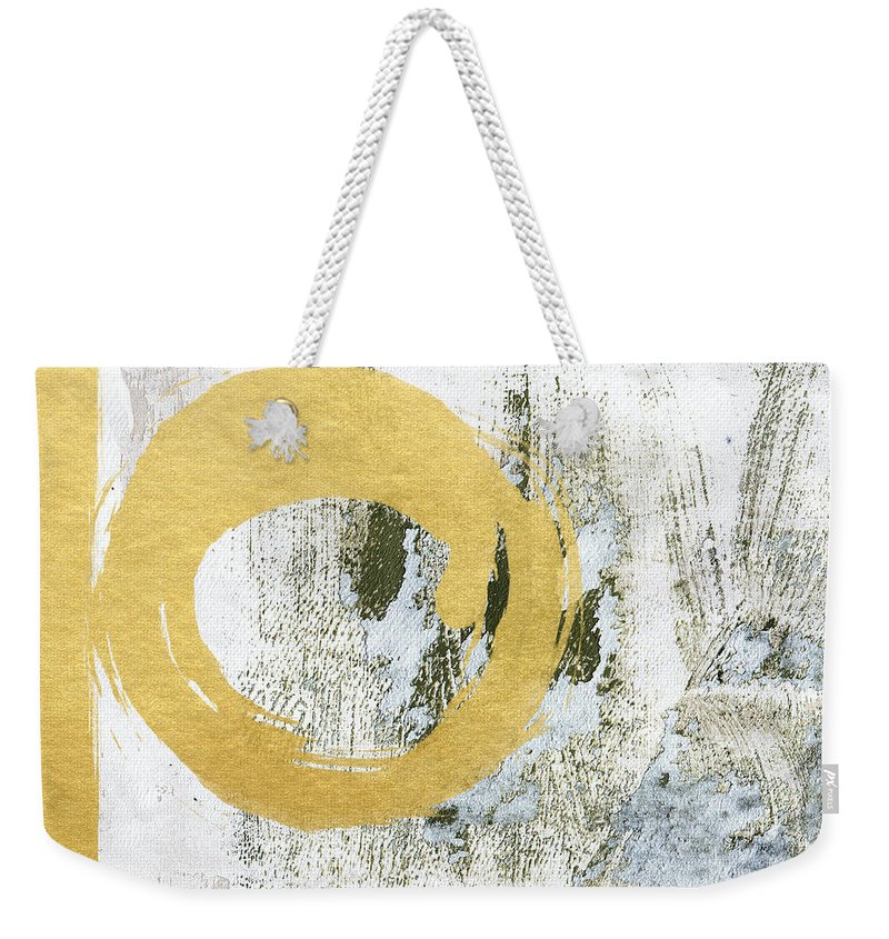 Gold Weekender Tote Bag featuring the painting Gold Rush - Abstract Art by Linda Woods