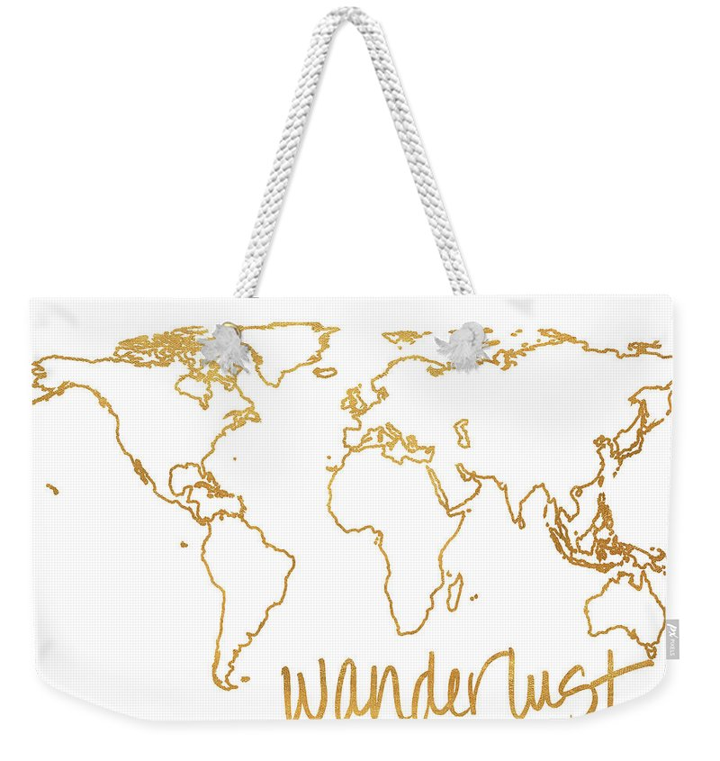 Gold Weekender Tote Bag featuring the mixed media Gold Wanderlust by South Social Studio